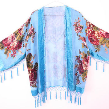 Sheer Aqua Velvet Burnout Beaded Fringe Kimono Jacket