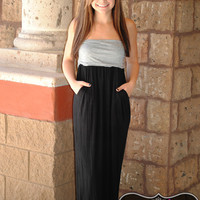 STRAPLESS BLACK/GREY MAXI DRESS W/POCKETS