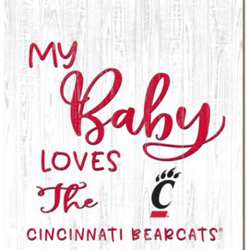 Cincinnati Bearcats | My Baby Loves | Sign | Wood | Rope Hanger | NCAA