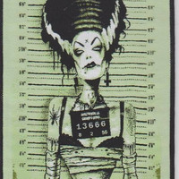 "Gothic / Punk sew on Patch 10cm X 14cm (4"" x 5 1/2""). Bride Frankenstein, Screaming Demons, Vintage Horror ,"