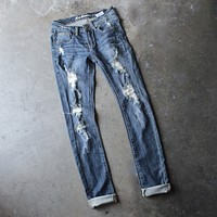 Aubrey distressed skinny jeans - medium wash