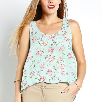 Cutout Flower Print Chiffon Top