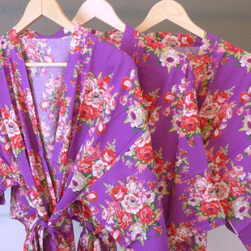 Purple Floral Kimono Bridesmaid and Flower Girl Robes
