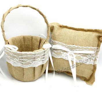 2Pcs/set Hessian Lace Wedding Flower Girl Basket and Ring Pillow