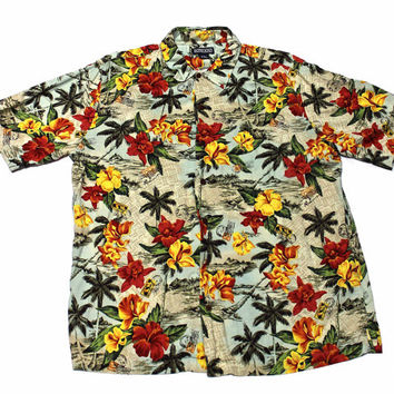 Vintage Lands End Hawaiian Shirt Mens Size Large (16 - 16 1/2)