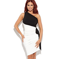 White With Black Oblique Shoulder Ruched Bodycon Midi Dress