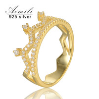 925-Sterling-Silver Crown 18K Men Gold Ring Zirconia Women'S Popular Rings Trendying Style Fine Jewelry Brand Aimili Ripy045