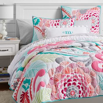OCEAN BLOOM WHOLECLOTH QUILT, FULL/QUEEN, MULTI