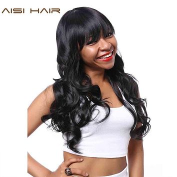 AISI HAIR Synthetic Wig for Black Women Long Cosplay Wigs Wavy Hair with Neat Bangs