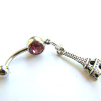 Eiffel Tower Belly Ring Charm Belly Button Jewelry Bellybutton Rings Navel Ring