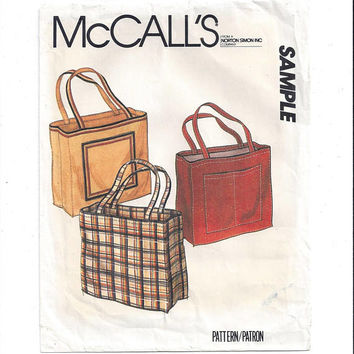 McCall's SAMPLE Pattern for Tote Bag with Patch Pockets, From 1980s, FACTORY Folded & UNCUT, Vintage Pattern, Home Sewing Promotion Pattern