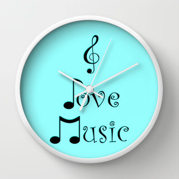 I Love Music - Techno Turquoise Wall Clock by Moonshine Paradise