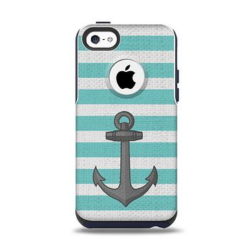 The Teal Stripes with Gray Nautical Anchor Apple iPhone 5c Otterbox Commuter Case Skin Set
