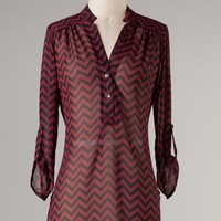 Chevron Shirt Tunic - Crimson