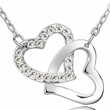 Gold over Crystal Zircon 6 Colors Mixed Necklace Double Heart Pendant Necklace Link Chain