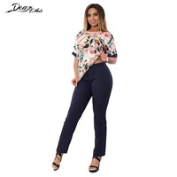 Women Print T Shirt and Plus Size Pants Set Summer Big Size Pencil Pants Trouser 2 Piece Set High Waist Pants Capris 6XL