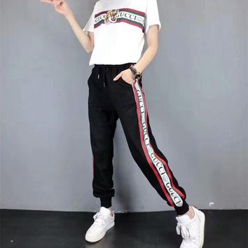 """Gucci"" Women Casual Fashion Letter Multicolor Stripe Embroidery Tiger Head Short Sleeve Trousers Set Two-Piece Sportswear"