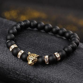 Natural Onyx Stone Matte Lucky With Tiger Charm Men's Bracelets