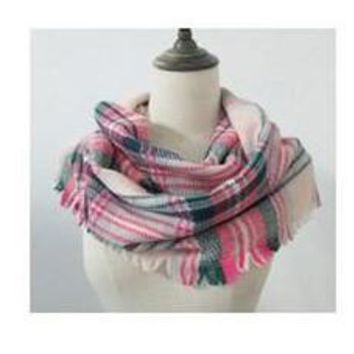 Warming Trend Pink Multi Plaid Scarf