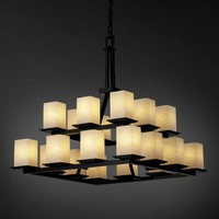 Justice Design Group FSN-8667-15-WEVE-MB Fusion Montana Twenty-Light Two-Tier Ring Chandelier