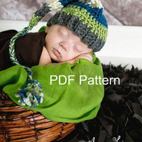 PDF Crochet elf hat pattern, file sent via email. Finished size fits newborn to 3 months.