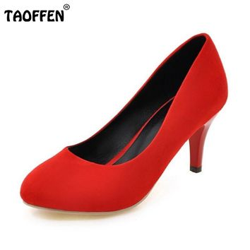 Round Toe High Heels Shoes Slip-on