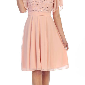 V-Neck Lace Bodice Chiffon Flared Sleeves Knee-Length Dress Blush