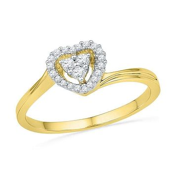 10kt Yellow Gold Women's Round Diamond Simple Heart Cluster Ring 1/6 Cttw - FREE Shipping (US/CAN)