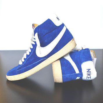 Vintage Nike Royal Blue Blazer Suede High Tops, Mint Condition Nike Shoes, White Rubber Sole, Gently Used Vintage Accessories, Apparel