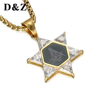 Masonic Stainless Steel Crystal Star of David Necklace