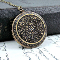 Large Boho Locket Necklace Victorian Pendant