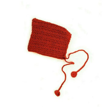 Rust red pixie hat. Crochet elf hat. Hand knitted warm hat or bonnet