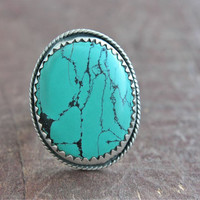 Statement Turquoise Ring Sterling Silver Size 9 Boho Gipsy Cluster Ring Silversmithed Metalsmithed