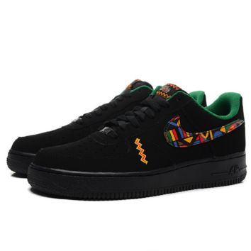 NIKE Women Men Running Sport Casual Shoes Sneakers Air force Low tops Print Black