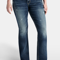 Plus Size - Silver Jeans ® Suki Jeans With Lace - Dark Sandblast