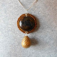 Dragon egg pendant with Agate bead