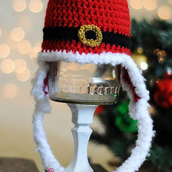 Crochet Red Santa Buckle Christmas Hat Earflap Beanie- Newborn, Baby, Toddler, Child, Holiday Hat, Winter, Photo Prop, Christmas Photos, Pic
