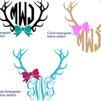 Deer monogram decal - Deer lover monogram - Hunter monogram - Deer and Bow - Hunting Decor - Nature Monogram - Nature Lover Decor - Bow