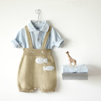Knitted shorts with straps in soft camel with fishes. 100% cotton. Baby boy. READY TO SHIP size 1-3 months.