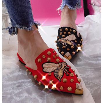 Fashion Women Casual Embroidery Butterfly Rivet Water Drill Sandal Half Slipper Mules Shoes I12366-1