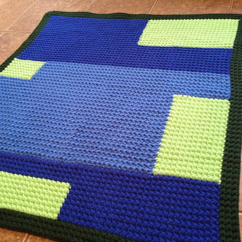 OOAK Green & Blue Geo-Mat - Geometric Abstract Mat - Rug - Children's Room, Bathroom, Family Room