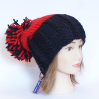 Irish handknit black and red county hat slouchy hats with pompom fun knitted wool hats for women teenagers child chunky yarn