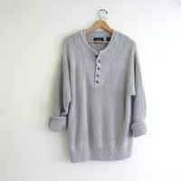 vintage heather gray sweater. henley knit pullover. button up boyfriend sweater. baggy and oversized