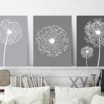 DANDELION Wall Art, Gray Ombre Bedroom Pictures Canvas or Prints Gray Bathroom Decor, Dandelion Floral Decor, Set of 3 Home Decor Pictures