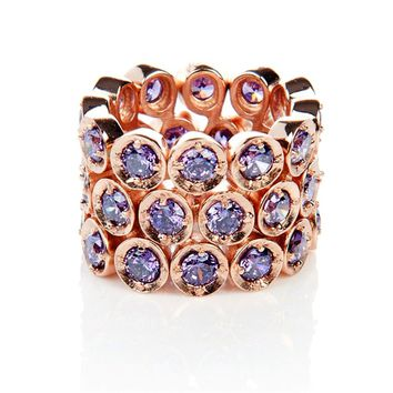 Triple Eternity Ring Amethyst (Rose Gold)