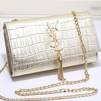 Perfect YSL Yves Saint Laurent Women Shopping Leather Metal Chain Crossbody Satchel Shoulder Bag