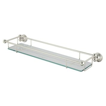 Rohl U.6953PN Perrin and Rowe Wall Mounted Glass Shelf with Towel Rack, Polished Nickel