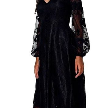 Black Bardot Embroidered Gauze Sweetheart Party Dress