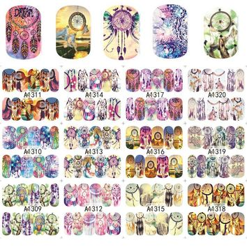 12 Designs/sets Hot Nail Sticker Charming Fantasy Dream Catcher for Full Beauty Nails Decals Women Nail Decor A1309-1320