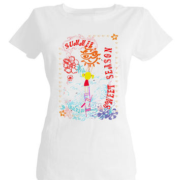 Summer season,sweet summer,flower summer,happy sun,customised t shirts,create t shirt,custom t shirt printing,funny t shirts for women,love
